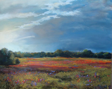 """Day settles over a field of Indian Paintbrush wildflowers as a Texas storm moves in.  Day's End - Texas is an original pastel painting by Karen Vernon  Picture Image: 16"""" x 20""""   Pastel on Ampersand Art Supply Museum Pastelbord  Ships in USA only"""