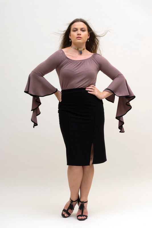 Shown here with our Mocha Draped Sleeved Tunic Top
