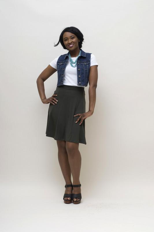 BePear Midi Panel Skirt - Olive