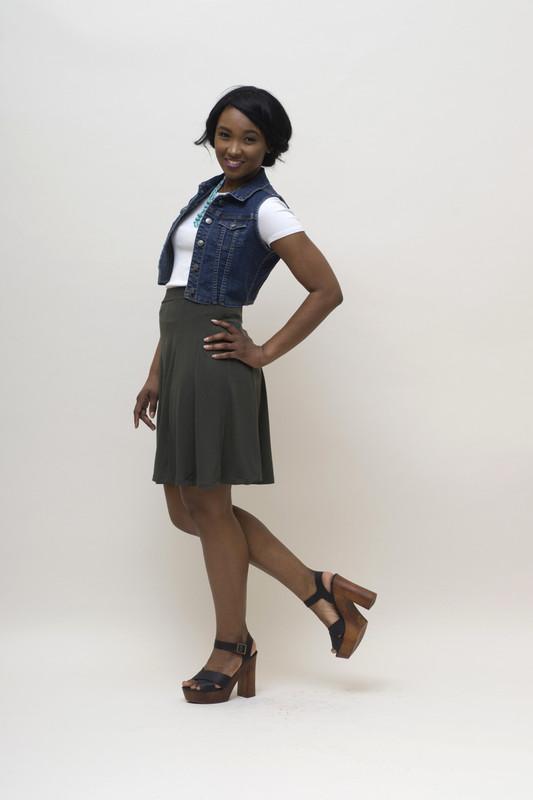 BePear Mini Panel Skirt - Olive