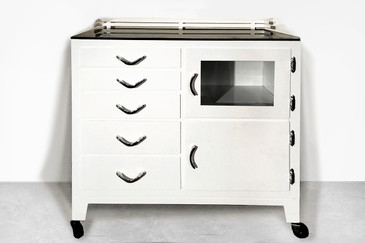 SOLD - Restored 1940s Rolling Medical Cabinet, Gloss White