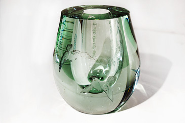 SOLD - Exquisite Chinese Etched Art Glass Bud Vase