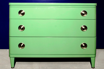 SOLD - Norman Bel Geddes Art Deco Dresser in Sage Green, 1940s