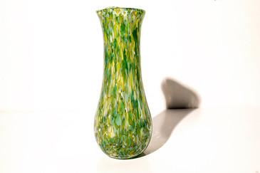 """SOLD - C. Walter Studio """"Psychedelic"""" Drip Art Glass Vase. 2004"""