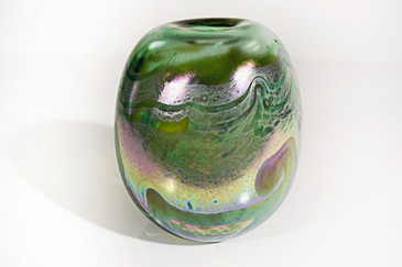 SOLD - Iridescent Pulled Feather Green and Gold Rainbow Vase, 1977