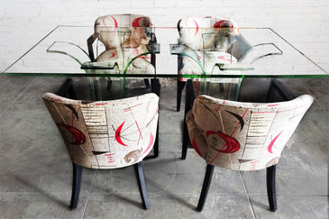 SOLD - 1940s Modern Age Glass Dining table and Chair Set