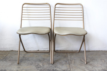 SOLD -Pair of 1950s Folding Chairs by Cosco, Reupholstered