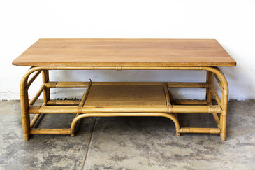 SOLD - 1940s Rattan Coffee Table with Mahogany Top