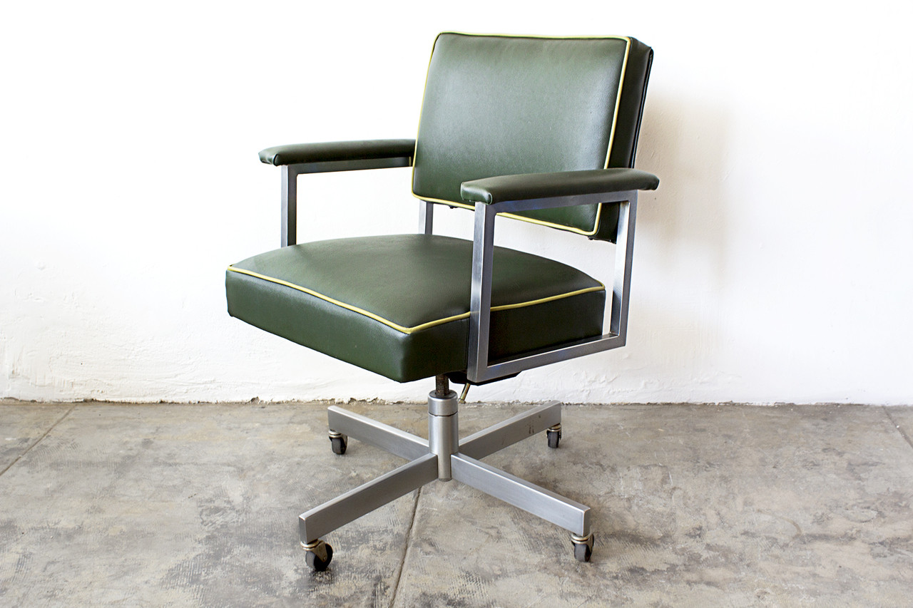 sold 1970s steelcase office chair refinished green - Steelcase Office Chairs