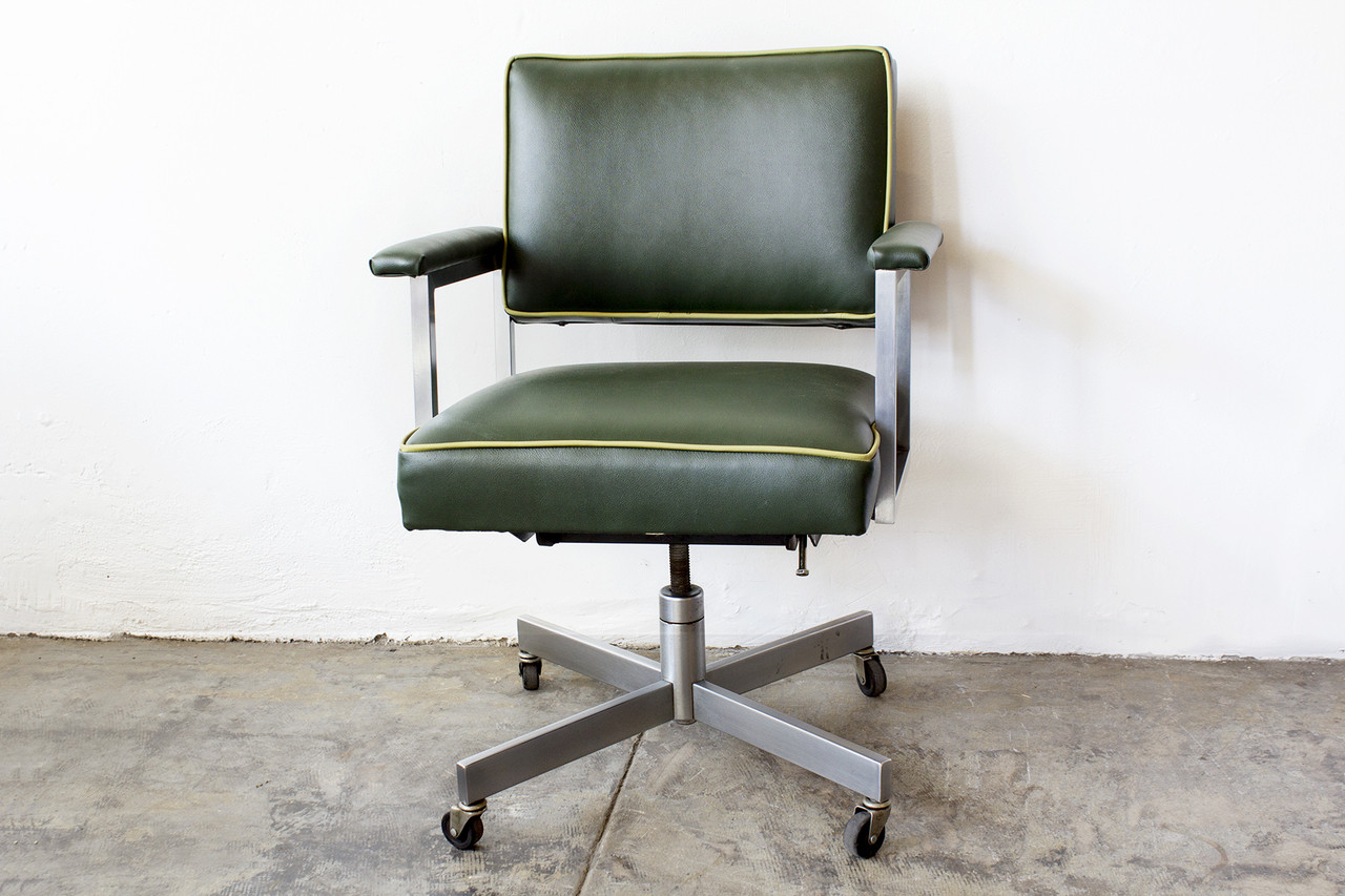 sold 1970s steelcase office chair refinished green rehab