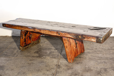 SOLD - Fir Plank Bench with Live Edge, Custom-Made