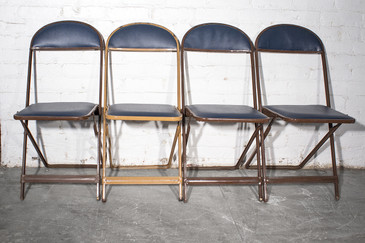 SOLD - 1960s Folding Chairs, Set of Four, Refinished