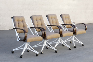 Set of 4 Bentwood and Steel Atomic Dining Chairs, Refinished