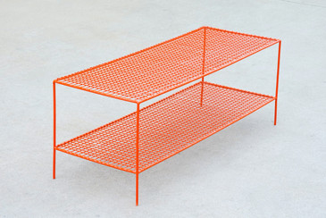 SOLD - Retro Shoe Rack/ Shelving Unit Refinished in Orange