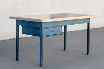 SOLD - 1960s Industrial Steel Workbench with Blue Patina