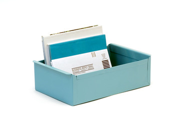 SOLD - 1950s Card File Drawer, Refinished in Tiffany Blue