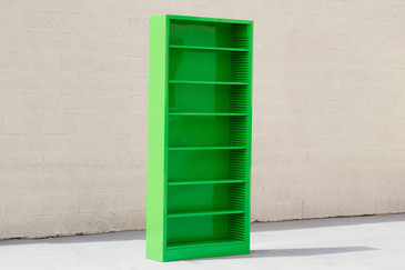 Tall Steel Tanker Bookcase, Refinished in Lime - CUSTOM ORDER