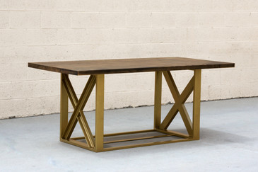 Custom Metallic Gold Dining Table with Maple Top