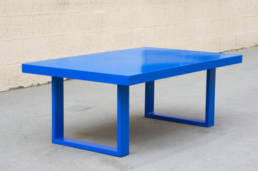 Custom Made Minimalist Steel Coffee Table in Blue