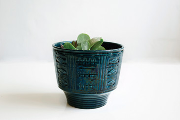 West German Ceramic Planter, Graphic Design Pattern