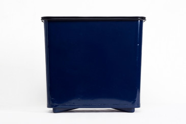 SOLD - Machine Age Steel Trash Can Refinished in Midnight Blue