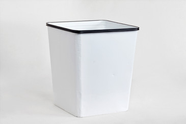 SOLD - 1940s Erie Art Metal Steel Trash Can Refinished in Gloss White
