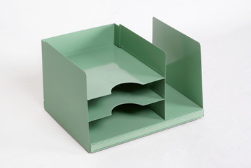SOLD - Space Age Desktop File Holder, Refinished in Sage Green