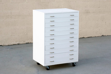 1960s Vertical Flat File Cabinet Refinished in Gloss White