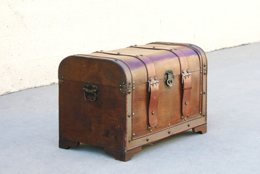 Vintage Wood Trunk with Leather Straps