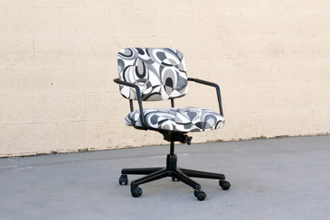SOLD - Retro Steel Office Chair with Abstract Fabric