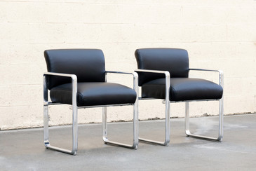 Pair of 1960s Modern Aluminum and Leather Armchairs
