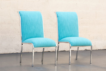 Pair of Chrome Dining Chairs by Milo Baughman for DIA