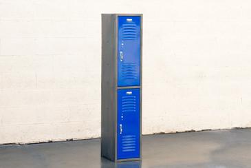 1970s Vertical Locker Cabinet,Refinished in Royal Blue