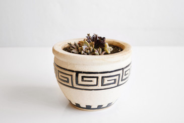 SOLD - Mid-Century Ceramic Planter with Classical Pattern