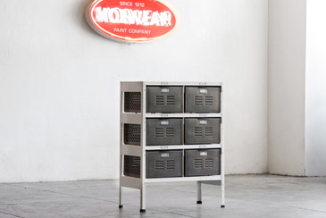 2 x 3 Vintage Locker Basket Unit with Natural Steel Drawers