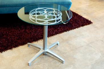 Rehab Original Film Reel Side Table, 1960s Modern Base- CUSTOM ORDER