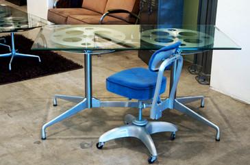 Rehab Original Film Reel Console Table, 1960s Modern Base- CUSTOM ORDER