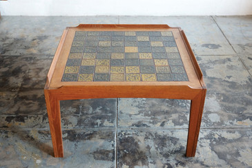 SOLD - Mid-Century Side Table with Ceramic Tile Mosaic Inlay