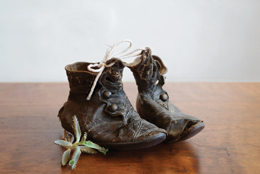 sold - Leather Child's Booties, Handmade, Depression Era