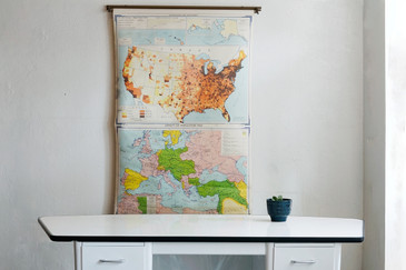 SOLD - Vintage Pull Down Map, XL Double Feature by, 1960s