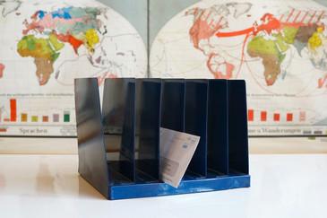 SOLD - Mid Century Desktop File Holder, Refinished in Navy