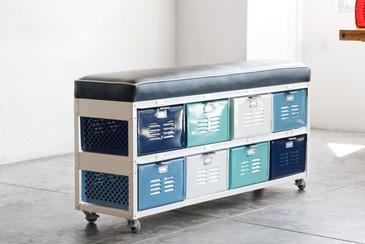 4 x 2 Vintage Locker Basket Unit with Padded Bench Seat