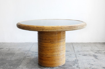 SOLD - Henry Olko Round Rattan Dining Table, 1978