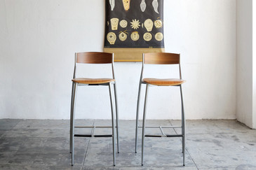SOLD  - Design Within Reach BABA Barstools, Walnut and Chrome