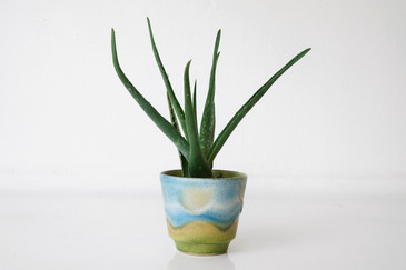 SOLD - Vintage German Ceramic Planter with Paint Drip Glaze