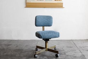 SOLD - Vintage Office Chair in Sky Blue Crosshatch Tweed