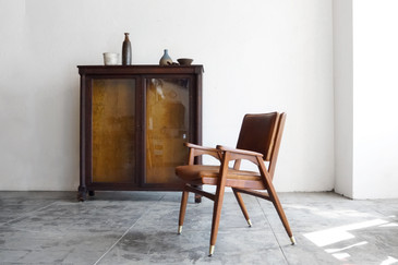 SOLD - Mid-Century Modern Wood Armchair with Leather Seat