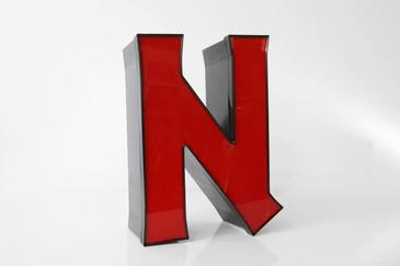 """SOLD - Vintage Channel Sign Letter """"N"""" Red, Sleek, Uppercase"""