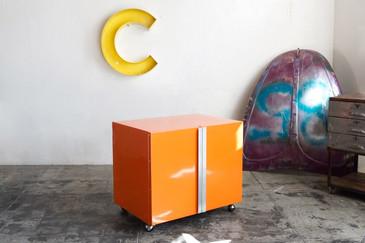 SOLD - Vintage Steel Office Cabinet, Refinished in Tangerine Orange