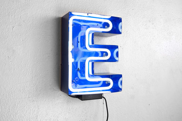 "SOLD - Vintage Neon Channel Sign Letter ""E"" in Refinished Navy Blue Frame"